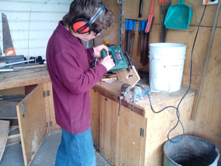 Tamariki School: Learning great skills in the woodwork room.