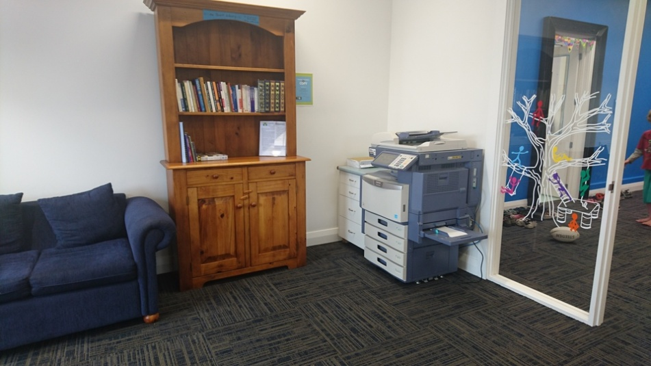 Tamariki School: Our new waiting room and new printer.