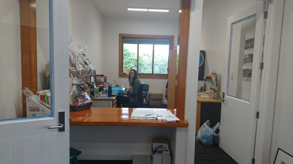 Tamariki School: Our wonderful Admin person, Haley, in her new office.