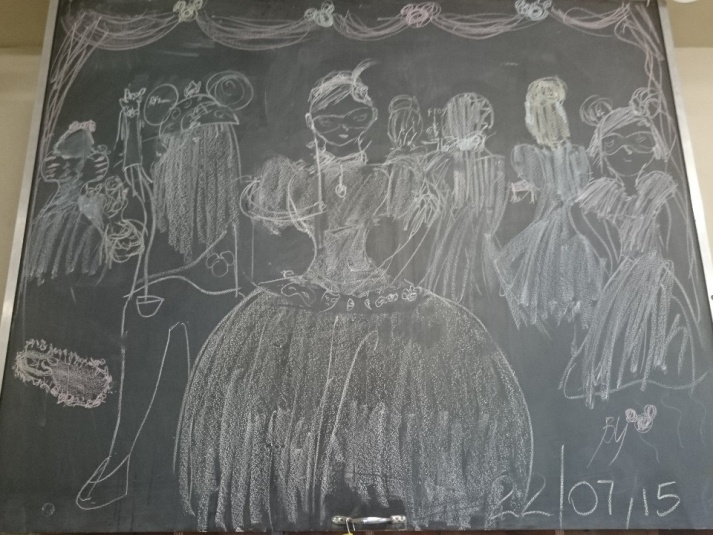 Tamariki School: Some spontaneous art on the chalk board.
