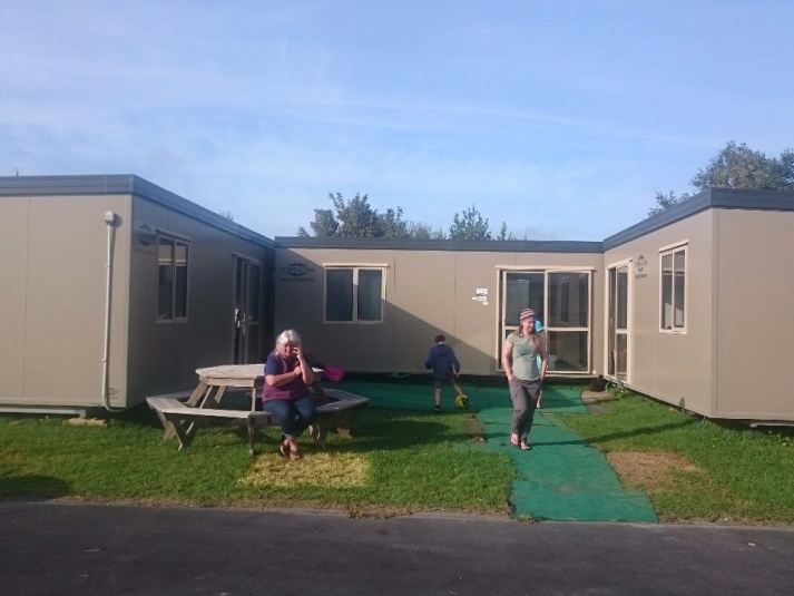 Tamariki School: The portacoms out on the field - while the building work was happening.
